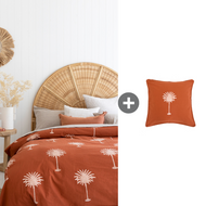 Rust Palm Trees Quilt Cover - QUEEN Size Bundle