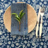 Indigo Hamptons Floral Table Runner | Peacocks and Paisleys