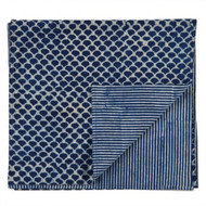 Indigo Hamptons Fish Scales Table Runner | Peacocks and Paisleys