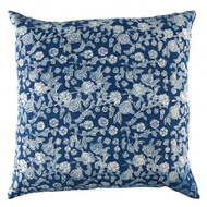 Indigo Hamptons Floral Cushion Cover | Peacocks and Paisleys
