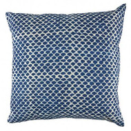 Indigo Fish Scales Hamptons Cushion Cover | Peacocks and Paisleys