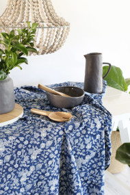 Indigo Floral Tablecloth | Peacocks and Paisleys