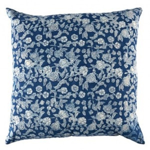 Indigo Floral Euro Cushion Cover | Peacocks and Paisleys