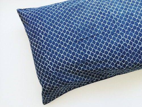 Indigo Fish Scales Pillow Cover | Peacocks and Paisleys