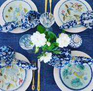 INDIGO STRIPE TABLE CLOTH | Peacocks and Paisleys