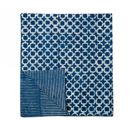 Indigo Tic Toc Table Runner | Peacocks and Paisleys