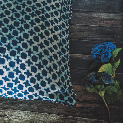 Indigo Tic Toc Cushion Cover | Peacocks and Paisleys