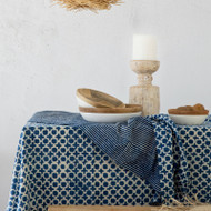 Indigo Tic Toc Tablecloth | Peacocks and Paisleys