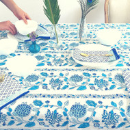 Blue Boho Hamptons Tablecloth | Peacocks and Paisleys