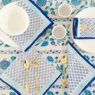 Blue Boho Hamptons Napkins (set of 4)| Peacocks and Paisleys