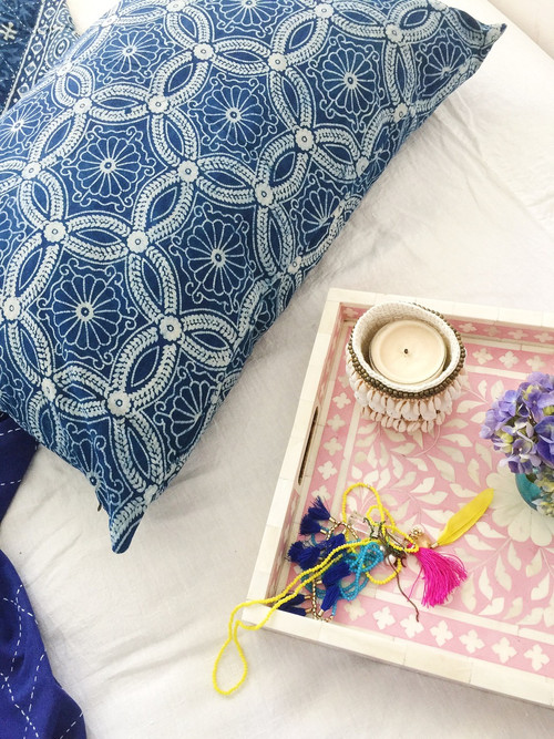 Indigo Florence Forest Pillowcase| Peacocks and Paisleys