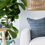 Indigo Dots and Stripes Linen Cushion Cover | Peacocks and Paisleys