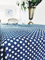 Indigo Dotty Tablecloth | Peacocks and Paisleys