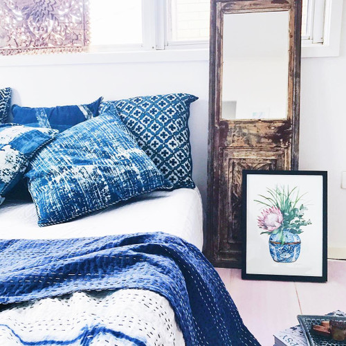 Indigo Moroccan Pillowcase| Peacocks and Paisleys