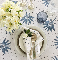 Indigo Banana Palms Tablecloth| Peacocks and Paisleys
