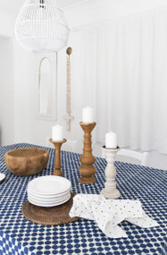 Indigo Dots  Round Tablecloth| Peacocks and Paisleys