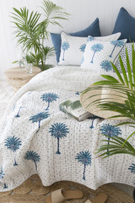 Blue Boho Polka Dot Palm Trees Kantha Quilt | Peacocks and Paisleys