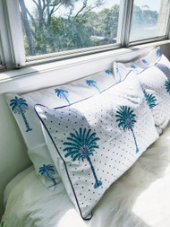 Boho Blue Polka Dot Palm Trees Pillow Case| Peacocks and Paisleys