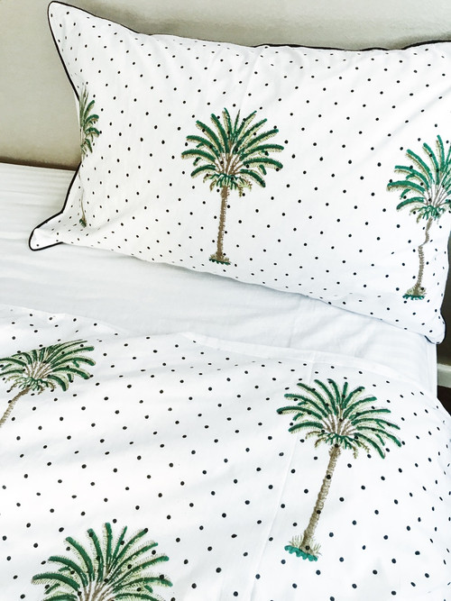 Polka Dot Palm Tree Quilt Cover King Size Peacocks And