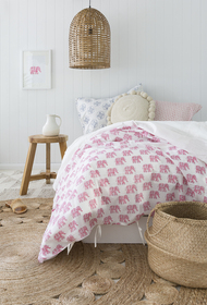 Pink Elephant Quilt Cover Single size