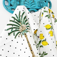 Polka Dot Palm Tree Tea towel