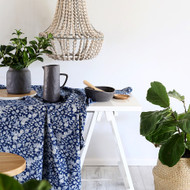 Indigo Floral Hamptons Square Tablecloth (180 X180 cm)