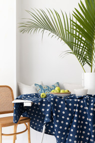 Indigo Dotty Round Tablecloth