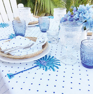 Blue Boho Palm Hamptons Table Runner( 30x150)
