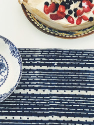 Indigo Dots And Stripes  Table Runner( 30x150)