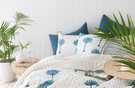 Blue Boho Palm Tree Polka Dot Euro Cushion Cover