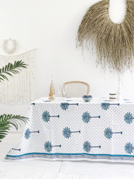 Boho Blue Palm Hamptons Square Tablecloth (180x180cm)