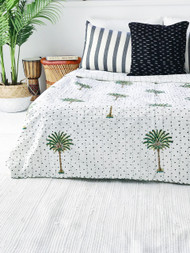 Polka Dot Palm Tree Summer Kantha Quilt