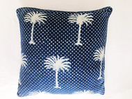 Indigo Polka Dot Palms Euro  Cushion Cover