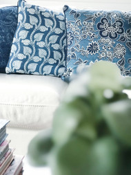 Indigo French Hamptons  Euro Cushion Cover