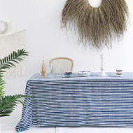 Indigo Ticking Stripes Tablecloth (180 x 275 cm )