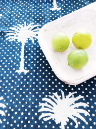 Indigo Polka Dot Palms Napkins -Set of 4