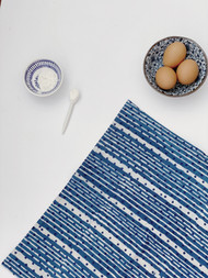 Indigo Dots and Stripes Tea Towel