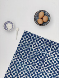Indigo Tic Toc  Tea Towel