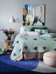 Belize Mint Palms Kantha Quilt