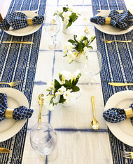 Indigo Dots and Stripes Square Tablecloth(180X180CM)