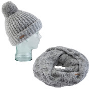 Coal Kate Beanie Waffle Knit And Coal The Madison Scarf Eternity Heather Grey