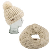 Coal The Kate Beanie Waffle Knit And Coal The Madison Scarf Eternity Knit Creme