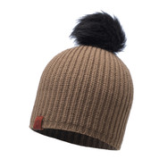 Buff Daily Adalwolf Knitted Beanie Bobble Hat Brown Taupe