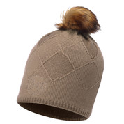 Buff Chic Stella Primaloft Knitted Beanie Bobble Hat Brown Taupe