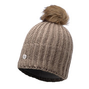 Buff Chic Glen Primaloft Knitted Beanie Bobble Hat Beige