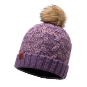 Buff Leisure Kiam Primaloft Knitted Beanie Bobble Hat Deep Grape