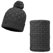 Buff Airon Primaloft Knitted Beanie Bobble Hat + Neckwarmer Grey Melange