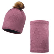 Buff Stella Primaloft Knitted Beanie Bobble Hat + Neckwarmer Heather Rose