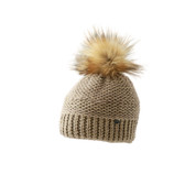 Starling Nicole Beanie Bobble Hat With Silver Flecks Of Thread Beige