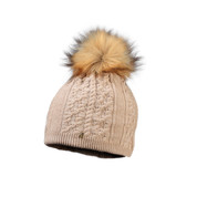 Starling Sandi Beanie Faux Fur Bobble Hat Beige